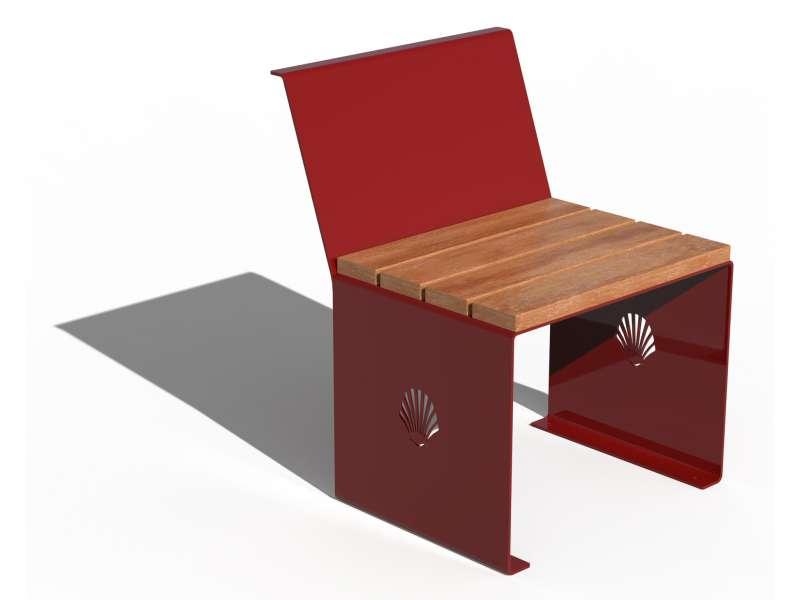 Siège avec dossier et assise en bois Merelle - RAL 3001 BRILLANT