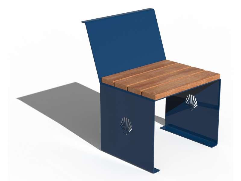 Siège avec dossier et assise en bois Merelle - RAL 5010 BRILLANT