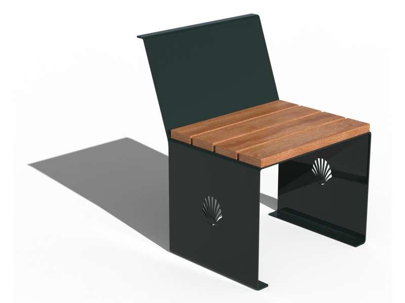 Siège avec dossier et assise en bois Merelle - RAL 6012 BRILLANT