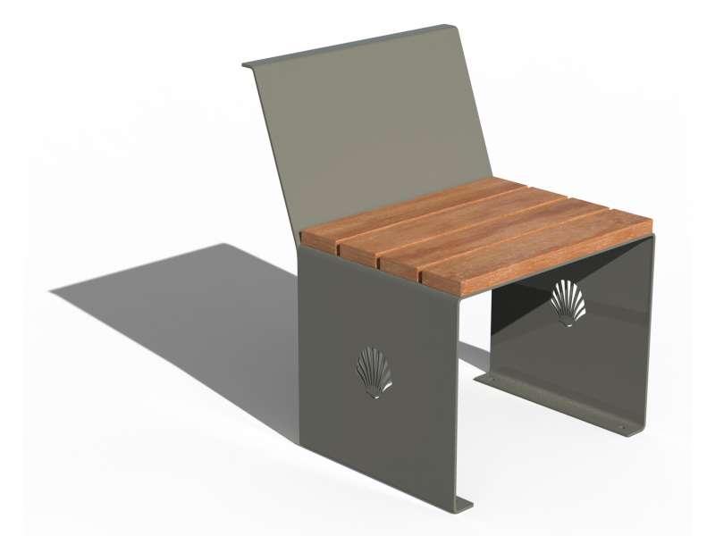 Siège avec dossier et assise en bois Merelle - RAL 7030 BRILLANT