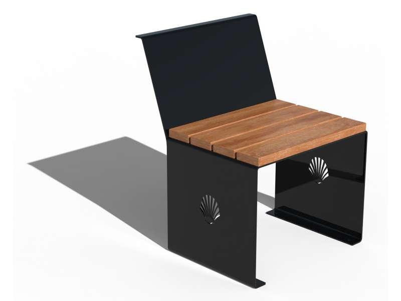Siège avec dossier et assise en bois Merelle - RAL 9005 BRILLANT
