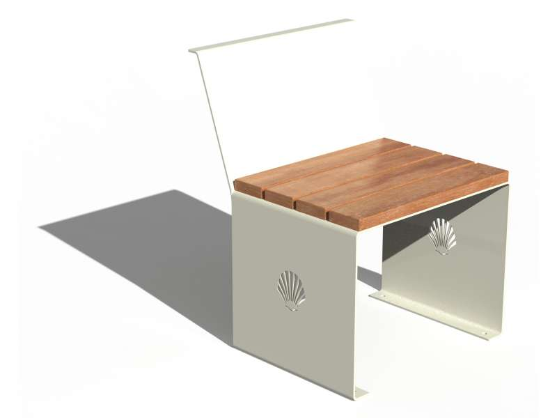 Siège avec dossier et assise en bois Merelle - RAL 9010 BRILLANT
