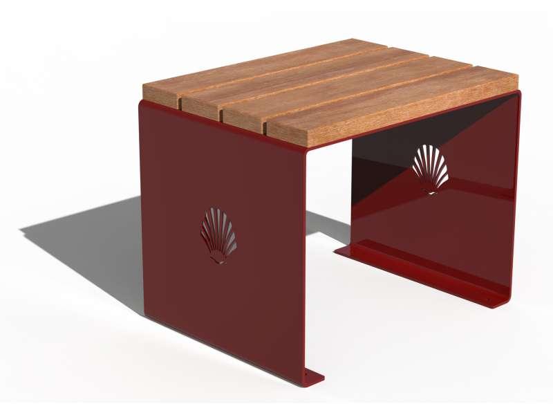 Siège sans dossier et assise en bois Merelle - RAL 3001 BRILLANT