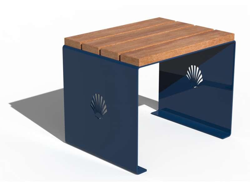 Siège sans dossier et assise en bois Merelle - RAL 5010 BRILLANT
