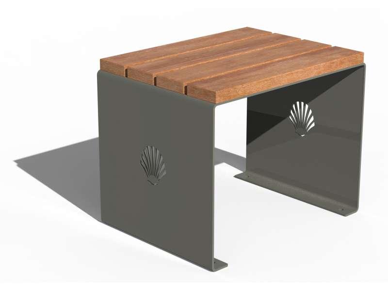 Siège sans dossier et assise en bois Merelle - RAL 7030 BRILLANT