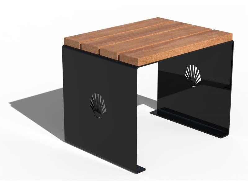 Siège sans dossier et assise en bois Merelle - RAL 9005 BRILLANT